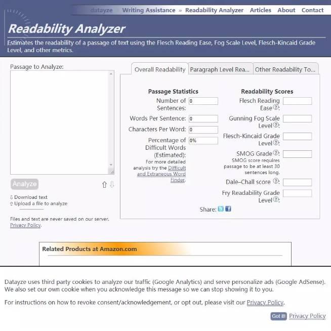 readability-analyzer使用界面
