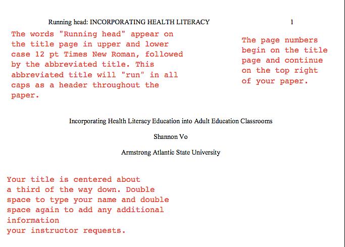 APA格式Essay标题页写作规范
