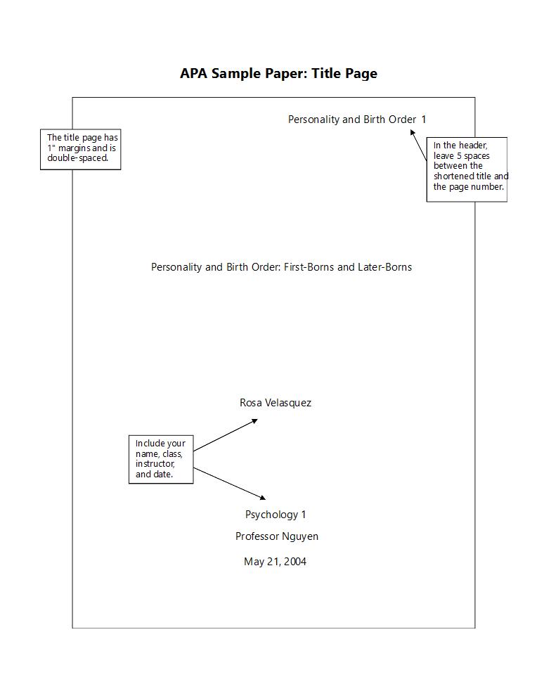 APA格式封面