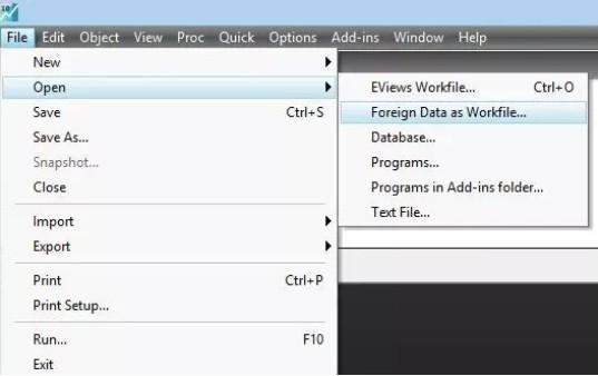 Eviews数据导入方法