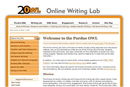 The Purdue Online Writing Lab网站首页