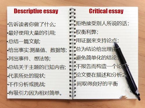 批判性ESSAY和描述性ESSAY的区别