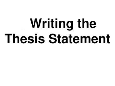 Thesis Statement应该怎么写?