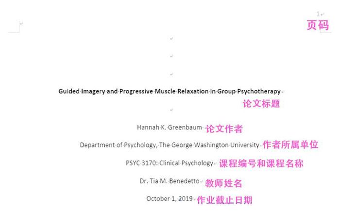 课程作业论文封面示例
