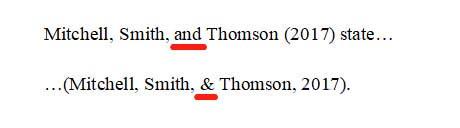 APA格式中两到六位作者引用示例