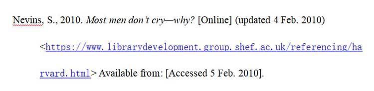 哈佛格式引用网页文献示例